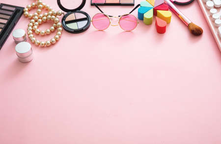 Women accessories banner. Fashion, trends and shopping concept. Female products against pink color background, copy space, closeup view