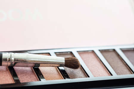 Eye shadows pallete set pastel colors and brush against pink background, closeup view. Professional tools for make up, beauty salon, cosmetics concept 免版税图像