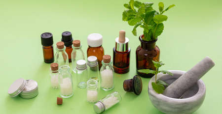 Alternative herbal medicine. Homeopathic globules, fresh mint herb isolated against green background. Aromatherapy, Homeopathy natural products