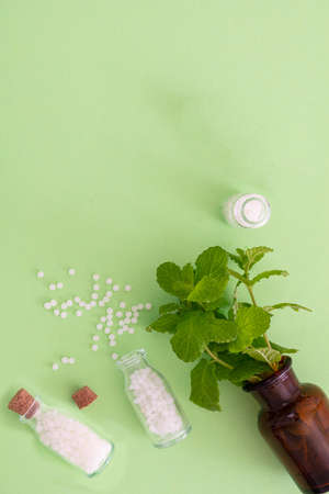 Homeopathy concept. Homeopathic globules out of a glass bottle, fresh herb, green background. Alternative herb medicine healtcare pills, copy space 免版税图像