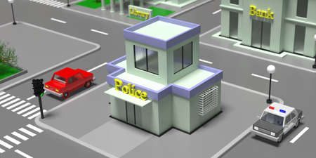 Police building entrance high angle view. Small town isometric block with houses, streets and trees. 3d illustration