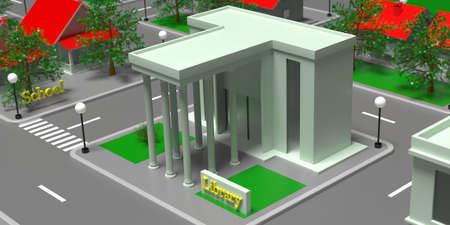 Library building entrance high angle view, Small city isometric block with houses, streets and trees background. 3d illustration 免版税图像