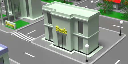 Bank building entrance high angle view. Small town isometric block with houses, streets and trees background. 3d illustration