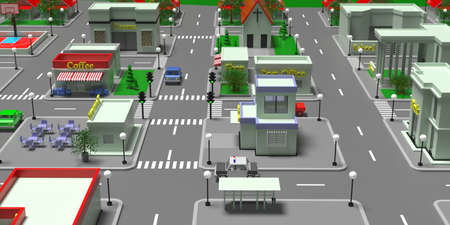 City center isometric blocks map. Small town or suburb downtown buildings and streets. Aerial view of shops and stores, cafe, restaurant, school, post office, cinema. 3d illustration