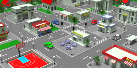 City center isometric blocks map. Small town or suburb downtown buildings and streets. Aerial view of shops and stores, cafe, restaurant, school, post office, police, bank. 3d illustration