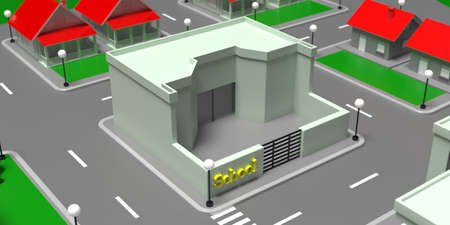 Small school building high angle view, Town isometric block with houses, streets and trees background. 3d illustration