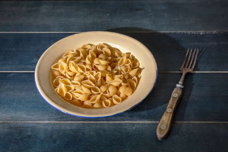 Pasta cooking concept. Fresh homemade shell shape pasta served in a plate on blue wooden background, closeup view 免版税图像