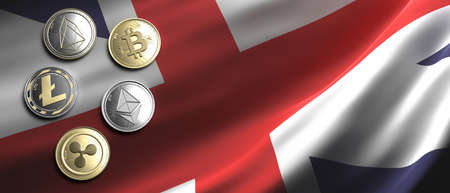 Cryptocurrency, blockchain technology, mining in UK concept. Bitcoin, ripple, litecoin, eos, ethereum coins set on United Kingdom flag background. 3d illustration