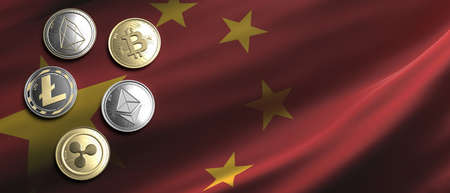 Cryptocurrency, blockchain technology, mining in China concept. Bitcoin, ripple, litecoin, eos, ethereum coins set on chinese flag background. 3d illustration