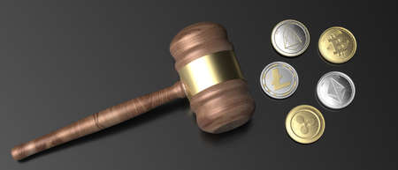 Cryptocurrency and law, blockchain, mining concept. Crypto coins set and judge gavel on black background. Bitcoin, ripple, litecoin, eos, ethereum. 3d illustration 免版税图像
