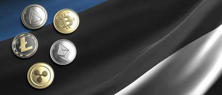 Cryptocurrency, blockchain technology, mining in Estonia concept. Bitcoin, ripple, litecoin, eos, ethereum coins set on estonian flag background. 3d illustration