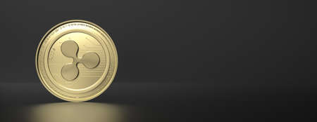 Ripple cryptocurrency gold coin on black background. Blockchain technology, mining concept, copy space, banner. 3d illustration