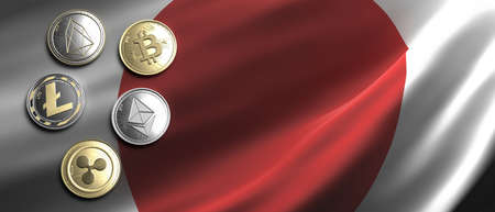 Cryptocurrency, blockchain technology, mining in Japan concept. Bitcoin, ripple, litecoin, eos, ethereum coins set on Japanese flag background. 3d illustration 免版税图像