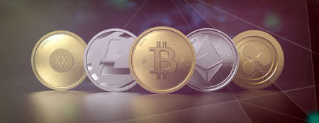 Cryptocurrency virtual coins set on abstract technology background. Bitcoin, ripple, litecoin, eos, ethereum. Blockchain, crypto currency, mining concept. 3d illustration 免版税图像