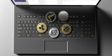 Cryptocurrency coins set on computer laptop background. Bitcoin, ripple, litecoin, eos, ethereum. Blockchain, mining concept. 3d illustration