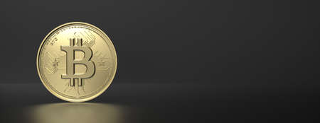 Bitcoin, btc. Crypto currency gold bit coin on black background. Blockchain technology, mining concept, copy space, banner. 3d illustration 免版税图像