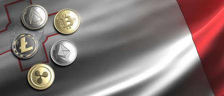 Cryptocurrency, blockchain technology, mining in Malta concept. Bitcoin, ripple, litecoin, eos, ethereum coins set on maltese flag background. 3d illustration 免版税图像