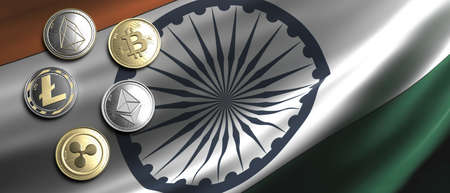 Cryptocurrency, blockchain technology, mining in India concept. Bitcoin, ripple, litecoin, eos, ethereum coins set on Indian flag background. 3d illustration