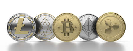 Cryptocurrency virtual coins set isolated on white background. Bitcoin, ripple, litecoin, eos, ethereum. Blockchain technology, mining concept. 3d illustration 免版税图像