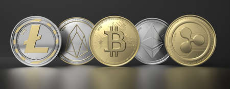 Cryptocurrency virtual coins set on black background. Bitcoin, ripple, litecoin, eos, ethereum. Blockchain, crypto currency technology, mining concept. 3d illustration