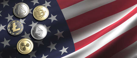 Cryptocurrency, blockchain technology, mining in USA concept. Bitcoin, ripple, litecoin, eos, ethereum coins set on US of America flag background. 3d illustration 免版税图像