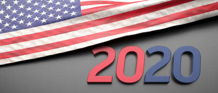 2020 USA, Presidential Election. United States of America flag and number 2020 red and blue color on black background, banner. 3d illustration