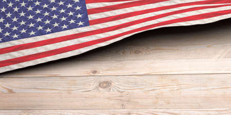 USA flag on wooden table background. US of America sign symbol, Memorial, 4th of July, Independence day template. 3d illustration 免版税图像