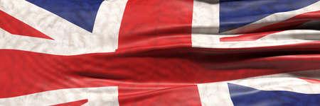 UK sign symbol. United Kingdom national flag waving texture background, banner. 3d illustration 免版税图像
