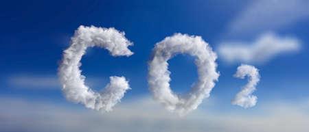 CO2 emissions pollution. Carbon Dioxide cloud text sign on blue sky background. Planet climate change, global warming concept. 3d illustration