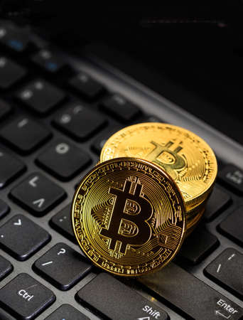 Bitcoin, btc. Crypto currency gold bit coin on computer lptop background. Blockchain technology, mining concept, vertical. 3d illustration