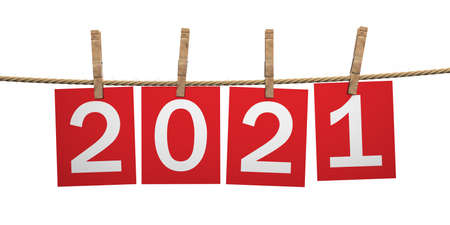 2021 New Year Celebration on rope with clothespins. Digits on red paper cards isolated cutout against white background. 3d illustration