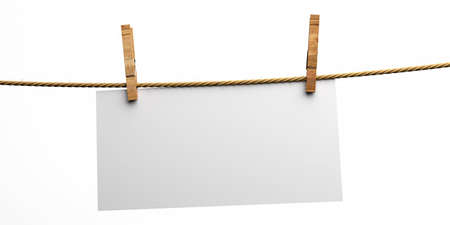 Empty paper card holding on rope with two wooden clothespins isolated cutout on white background. Blank memo, reminder, sign template. 3d illustration