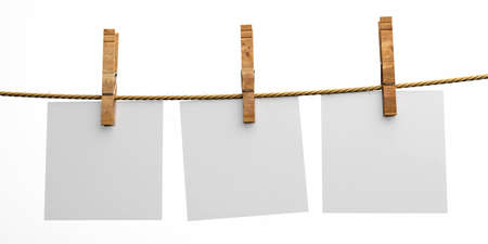 Empty paper notes holding on clothesline with wooden clothespins isolated cutout on white background. Blank tags, label template. 3d illustration