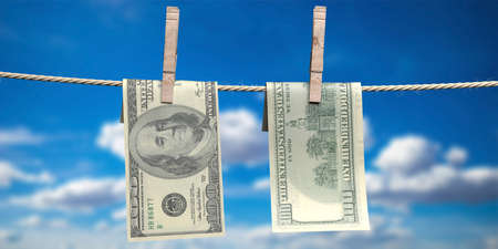 Money laundering concept. Clothespins hold two USD american 100 dollars on rope. Illegal way to clean dirty earnings. Blue sky background. 3d illustration