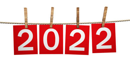 2022 New Year Celebration on rope with clothespins. Digits on red paper cards isolated cutout against white background. 3d illustration 免版税图像