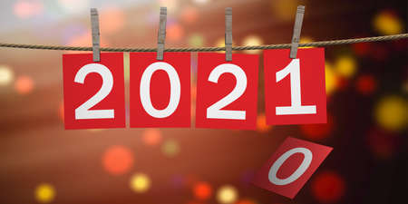 2021 New Year Celebration on rope with clothespins. Digits on red paper cards against festive bokeh background. 3d illustration