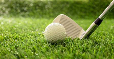 Golfing sport equipment and club concept. Golf stick ready to hit a ball on green course lawn, sunlight reflections, close up view. Zdjęcie Seryjne