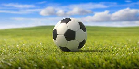 Soccer ball, football. Grass field, fresh green lawn sport terrain, blue cloudy sky background. 3d illustration