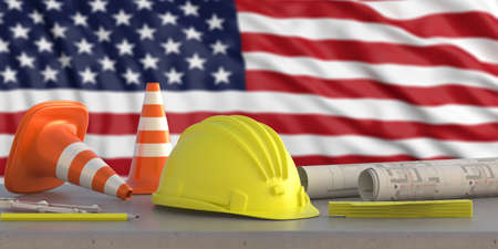 Construction industry in USA. Hardhat and safety equipment on United states of America flag background, 3d illustration