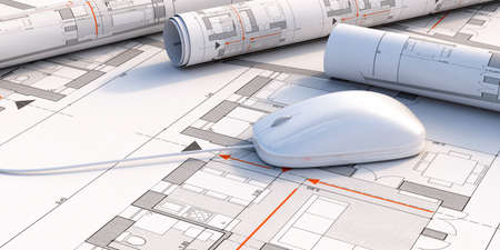 Construction project, architect engineer office concept. Computer mouse on blueprint plans background. 3d illustration