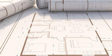 Real estate, housing project construction concept. Residential building blueprint plans, copy space, banner. 3d illustration