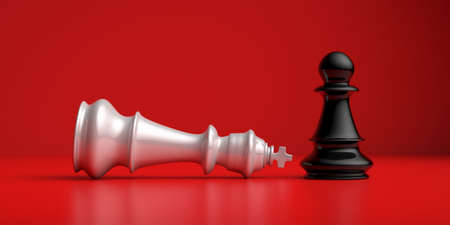 Win, lose, checkmate. Black chess pawn standing up winner and white king laying down, red color background. Strategy, success concept. 3D illustration. Banque d'images