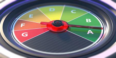 Energy efficiency classification, car dashboard speedometer. Alternative green energy or fuel. 3d illustration