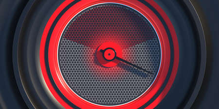 Speedometer closeup. Car dashboard analog round gauge top view. High speed, fuel, rpm indication. Red color on black background. 3d illustration