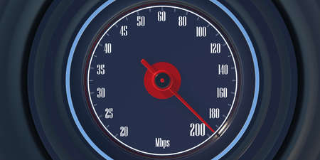 Internet speed test, 200 Mbps on car speedometer,  closeup view. Fast internet connection concept. 3d illustration