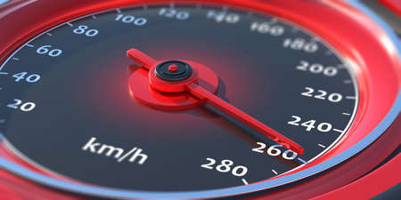 High speed, fast car concept. Auto speedometer, dashboard analog round gauge closeup view. 260 km per hour speed indication, Red and black colors. 3d illustration Reklamní fotografie