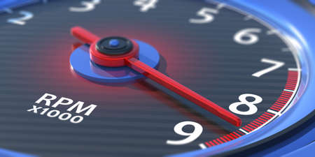 Car tachometer, RPM indication. Analog device measuring rotational speed. Auto speedometer, dashboard dial round gauge closeup view. 9000 revolutions per minute indication. 3d illustration