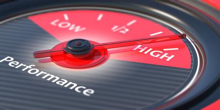Performing high concept. Car gauge measure engine high performance close up. 3d illustration