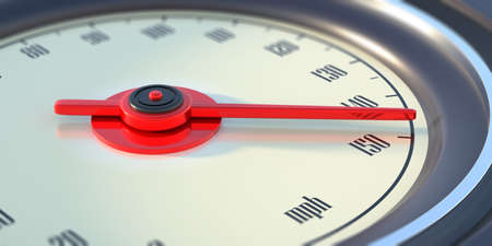 High speed, fast car race concept. 150 miles per hour speed indication, Auto speedometer, dashboard dial round gauge closeup view. Red color needle. 3d illustration
