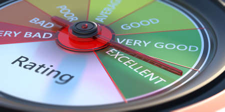 Rating classification. Performance review, car dashboard speedometer, close up view. 3d illustration Reklamní fotografie